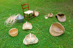 Baskets made in the traditional way by settlers in the appalachians. Examples of weaving the old-fashioned way as seen at mabry mill, virginia Royalty Free Stock Image