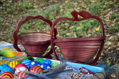 Baskets made of wood Royalty Free Stock Image