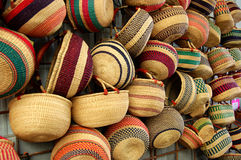 Baskets in the Market. Handwomen baskets for sale at the farmer's market Stock Image