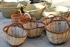Baskets in a market Stock Photo