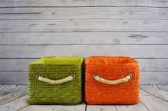 Baskets, Orange, Green, Storage Stock Photography