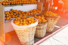 Baskets of oranges in the market royalty free stock images
