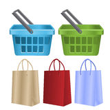 Baskets and packages for purchases Stock Photos
