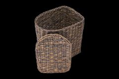 Baskets of paper tubes stock images