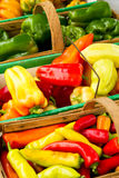 Baskets of peppers Royalty Free Stock Photos