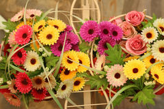 Baskets with a range of summer flowers.  Royalty Free Stock Images