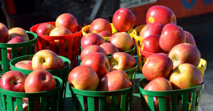 Baskets of red apples  Stock Photos