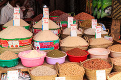 Baskets with rice and beans for sale on a market Stock Image