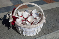 Baskets with rice for wedding ceremony Royalty Free Stock Image