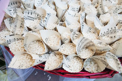 Baskets with rice for wedding ceremony Royalty Free Stock Photos