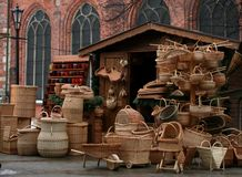Baskets in Riga. Baskets shop in the old center of Riga Royalty Free Stock Images