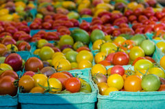 Baskets of ripe cherry tomatoes Stock Photography
