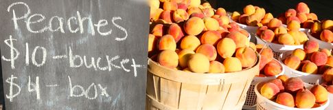 Baskets of Ripe Peaches At the Market Royalty Free Stock Photography