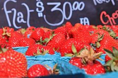 Baskets of Ripe Strawberries Stock Photography