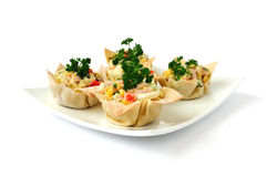 Baskets with a salad of corn Stock Images