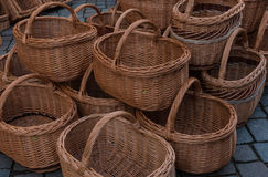Baskets on sale in the market Royalty Free Stock Image