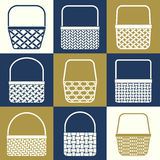 Baskets. Set of stylized baskets with different weaves for shopping Stock Photo