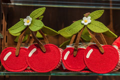 Baskets similar to cherries. Are made of cloth Stock Photos