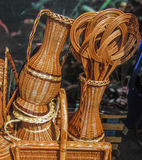 Baskets similar to vases and pitchers. Horizontal photo, photo took in Moscow's market in Russia Royalty Free Stock Photography