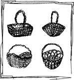 Baskets sketch Royalty Free Stock Images