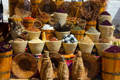 Baskets with spicery on east bazaar Royalty Free Stock Photos