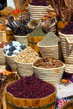 Baskets with spicery on east bazaar Royalty Free Stock Photography