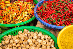 Baskets with spices. At vietnamese wet market stock photos