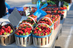 Baskets strawberries. Baskets of beautiful strawberries fresh Royalty Free Stock Photography