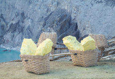 Baskets of sulfur extracting inside Ijen crater by miners. Indonesia Royalty Free Stock Photos
