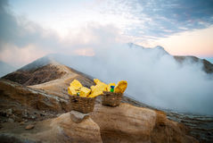 Baskets with sulphur at Kawah Ijen krater, Indonesia Stock Photography