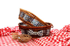 Baskets on a table cover Stock Photography
