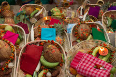 Baskets with tropical fruits and vegetables. Gifts to the gods. Set of tropical fruits and vegetables Royalty Free Stock Images