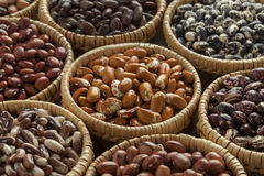 Baskets with variety of  beans Royalty Free Stock Photo