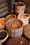 Baskets with various kinds of nuts. Market royalty free stock image