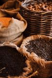 Baskets with various kinds of nuts Stock Photography
