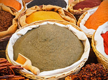 Baskets of various types of spices Royalty Free Stock Images