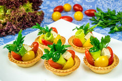 Baskets with vegetables and cheese Royalty Free Stock Images