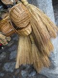 Baskets and wicker brooms Stock Image
