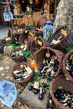Baskets with wine for selling at a Christmas market Stock Images