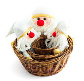 Baskets of wood with Santa Claus Stock Photo