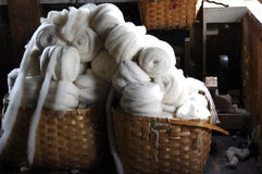 Baskets on Wool Royalty Free Stock Images