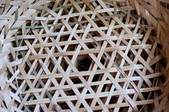Bamboo basket for fish containers stock photo