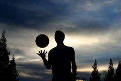 basketsilhouette Arkivbild