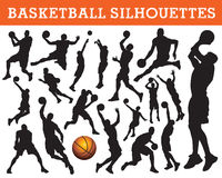 basketsilhouettes Royaltyfria Bilder