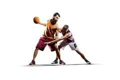 Basketspelare i handling som isoleras på vit Arkivbilder