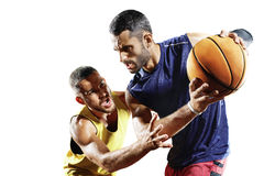Basketspelare i handling som isoleras på vit Arkivbild