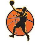 Basketspelare som läggs upp boll stock illustrationer