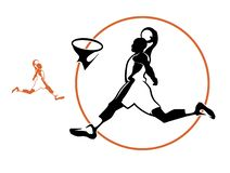 Basketspelare, vektorkontur Vektorbasketspelare som gör poäng ett mål arkivbilder