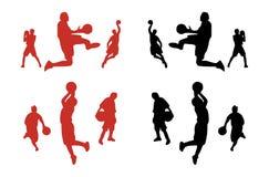 basketspelaresilhouettes Arkivfoton