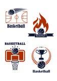 Basketsportemblem eller logoer Royaltyfri Foto